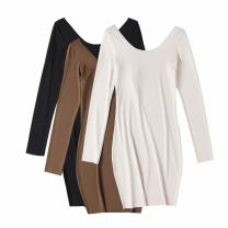 Dress Autumn 2020 Apricot, black, brown S, M longuette singleton  Long sleeves commute Crew neck Solid color Socket routine 25-29 years old knitting cotton