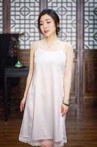 Dress Autumn of 2019 White, black S. M, l, XL, XXL, XXXL, customized extra large and small size, free modification, no return Mid length dress singleton  Sleeveless Crew neck Loose waist Solid color other other other camisole 35-39 years old Type H other other