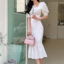 Dress Spring 2021 white S,M,L,XL Mid length dress Two piece set Short sleeve commute square neck middle-waisted Solid color Socket Ruffle Skirt routine Others 25-29 years old Type X Other / other Korean version 5771A71 71% (inclusive) - 80% (inclusive) other cotton