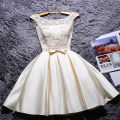 Dress / evening wear Wedding, adulthood, party, company annual meeting, performance, routine, appointment XXL,S,M,L,XL Korean version Short skirt middle-waisted Spring 2016 Skirt hem One shoulder Bandage 18-25 years old Short sleeve Embroidery character Wrap sleeves machine embroidery