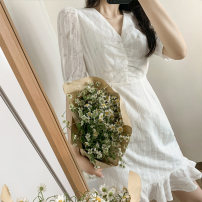 Dress Summer 2020 Pearl White S, M Mid length dress singleton  Short sleeve commute V-neck High waist Solid color Socket A-line skirt routine 25-29 years old Type A Simplicity More than 95% polyester fiber