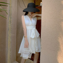 Dress Summer 2021 white S,M,L,XL Short skirt singleton  Sleeveless Sweet V-neck High waist Solid color Socket Big swing Breast wrapping 18-24 years old T-type Bows, open backs, bandages 31% (inclusive) - 50% (inclusive) other cotton Bohemia