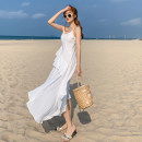 Dress Summer 2021 white S,M,L,XL longuette singleton  Sleeveless Sweet V-neck High waist Solid color Socket Big swing camisole 18-24 years old T-type Open back, Ruffle 71% (inclusive) - 80% (inclusive) Chiffon Cellulose acetate Bohemia