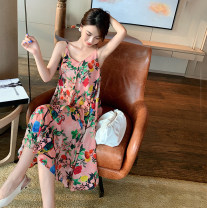 Dress Summer 2021 Picture color S,M,L,XL Mid length dress singleton  Sleeveless Sweet V-neck Loose waist Decor Socket Big swing camisole 25-29 years old T-type printing 51% (inclusive) - 70% (inclusive) Chiffon polyester fiber Bohemia