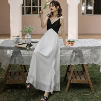 Dress Summer 2021 Black and white S,M,L,XL longuette singleton  Sleeveless commute V-neck High waist Solid color Socket Pleated skirt camisole 18-24 years old Type A Korean version Ruffles, open back, folds 81% (inclusive) - 90% (inclusive) Chiffon polyester fiber
