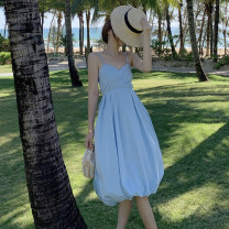 Dress Summer 2021 blue S,M,L longuette singleton  Sleeveless Sweet V-neck Elastic waist Solid color Socket Lantern skirt routine camisole 18-24 years old T-type Other / other backless 51% (inclusive) - 70% (inclusive) other polyester fiber Bohemia