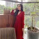 Dress Autumn 2020 Bordeaux red S,M,L Mid length dress singleton  Long sleeves Sweet V-neck High waist Solid color zipper Big swing bishop sleeve Others 25-29 years old Type A 51% (inclusive) - 70% (inclusive) other other Mori