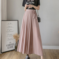 Casual pants Black, grey blue, smoke pink S,M,L,XL Summer 2021 Ninth pants Wide leg pants High waist Sweet Thin money 25-29 years old 31% (inclusive) - 50% (inclusive) other belt polyester fiber Bohemia
