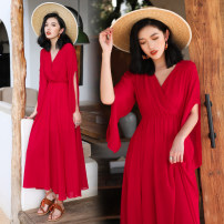 Dress Spring 2021 gules S,M,L,XL longuette singleton  three quarter sleeve commute V-neck Elastic waist Solid color Socket Big swing pagoda sleeve Others 25-29 years old Type A Retro 81% (inclusive) - 90% (inclusive) Chiffon polyester fiber