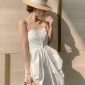 Dress Summer 2021 Off white S,M,L Mid length dress singleton  Sleeveless Sweet One word collar High waist Solid color Single breasted A-line skirt Breast wrapping 18-24 years old Type A 31% (inclusive) - 50% (inclusive) other cotton Bohemia
