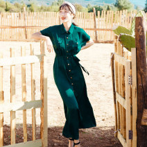 Dress Summer 2021 Emerald M,L,XL longuette singleton  Short sleeve commute Polo collar Loose waist Solid color Single breasted A-line skirt routine Others 18-24 years old T-type Retro Strap, button 81% (inclusive) - 90% (inclusive) other polyester fiber