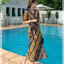 Dress Summer 2021 Decor S,M,L,XL,2XL,3XL longuette singleton  elbow sleeve commute V-neck High waist Decor Socket A-line skirt routine Others 25-29 years old T-type ethnic style Bandage, print 51% (inclusive) - 70% (inclusive) Chiffon polyester fiber