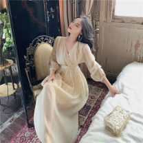 Dress Summer 2021 Champagne Average size longuette singleton  three quarter sleeve commute V-neck High waist Solid color other Big swing bishop sleeve Others 18-24 years old Type A lady Fold, splice 81% (inclusive) - 90% (inclusive) Chiffon polyester fiber