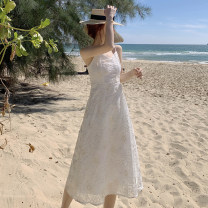 Dress Summer 2021 white S,M,L,XL longuette singleton  Sleeveless Sweet V-neck High waist Solid color Socket A-line skirt routine camisole 18-24 years old Type A Other / other backless 71% (inclusive) - 80% (inclusive) Lace polyester fiber Bohemia