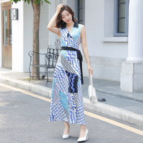 Dress Summer 2021 S,M,L,XL,2XL longuette singleton  Sleeveless commute V-neck High waist Broken flowers other A-line skirt Others 30-34 years old Type H Other / other Korean version Bowknot, lace up, stitching, bandage, printing 31% (inclusive) - 50% (inclusive) other polyester fiber