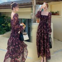 Dress Spring 2021 Picture color S,M,L longuette singleton  Long sleeves commute square neck High waist Decor Socket Ruffle Skirt Princess sleeve Others 18-24 years old Type A Retro printing 51% (inclusive) - 70% (inclusive) Chiffon polyester fiber