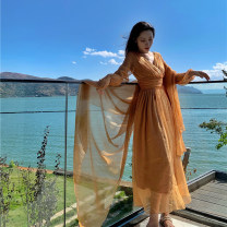 Dress Summer 2021 Headband + skirt, headband, skirt S,M,L,XL longuette other Long sleeves Sweet V-neck High waist Solid color Socket Big swing bishop sleeve Others 18-24 years old T-type zipper 81% (inclusive) - 90% (inclusive) Chiffon polyester fiber Bohemia