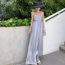Dress Summer 2021 Psychedelic ash S,M,L longuette singleton  Sleeveless commute V-neck High waist Solid color Socket Big swing camisole 18-24 years old Type A Other / other lady backless 31% (inclusive) - 50% (inclusive) Chiffon polyester fiber