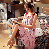 Pajamas / housewear set female Other / other M,L,XL,XXL cotton camisole Sweet pajamas summer Thin money Crew neck Socket youth one-piece garment rubber string pure cotton printing Middle-skirt