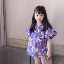 Dress Purple flowers female Other / other 80cm,90cm,100cm,110cm,120cm,130cm Cotton 95% other 5% summer Korean version Short sleeve Broken flowers cotton A-line skirt Class B 12 months, 18 months, 2 years old, 3 years old, 4 years old, 5 years old, 6 years old, 7 years old, 8 years old Huzhou City
