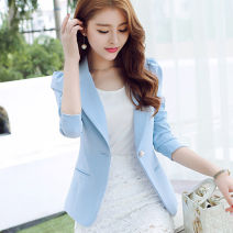 suit Autumn of 2019 Black, sapphire blue, white, pink, sky blue, bean green S,M,L,XL,XXL Long sleeves routine Self cultivation tailored collar A button commute puff sleeve Solid color R8028 25-29 years old 81% (inclusive) - 90% (inclusive) polyester fiber Caidaifei pocket