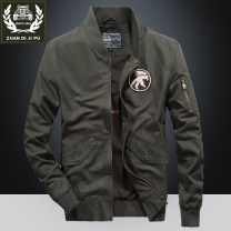 Jacket Field garden Fashion City Khaki, dark blue, army green M. L, XL, 2XL, 3XL, 4XL (suitable for 210-220 kg) routine easy Other leisure winter Long sleeves Wear out Baseball collar Military brigade of tooling youth routine Zipper placket 2018 Rib hem washing Closing sleeve Solid color Denim badge