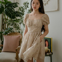 Dress Summer 2020 Grey bean sand green, grey bean sand green XS,S,M,L Short skirt singleton  Short sleeve commute square neck middle-waisted other zipper Big swing puff sleeve Others 25-29 years old Type X I'm miss tun Korean version Embroidery, sequins Chiffon other