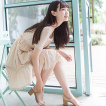 Dress Summer of 2018 Apricot meat XS,S,M,L Short skirt singleton  Short sleeve commute square neck middle-waisted Solid color zipper Ruffle Skirt routine Others 18-24 years old Type X I'm miss tun lady Lace, lace, stitching, three-dimensional decoration, zipper, lace 91% (inclusive) - 95% (inclusive)