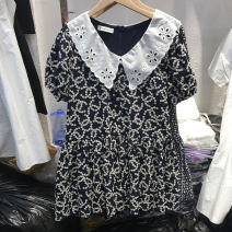 Dress Summer 2020 Black, floret Average size Short skirt singleton  Short sleeve commute V-neck High waist Solid color Socket other puff sleeve Others 25-29 years old Type H Korean version 51% (inclusive) - 70% (inclusive)