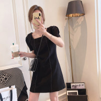 Dress Spring 2021 White, black M,L,XL Middle-skirt singleton  Long sleeves commute square neck High waist Solid color Socket Irregular skirt puff sleeve Others 25-29 years old Type A Other / other Korean version Stitching, zipper, diamond