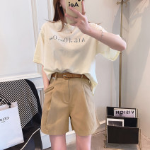 T-shirt White, pink, light yellow, green Average size Spring 2021 Short sleeve Crew neck easy Regular routine commute other 31% (inclusive) - 50% (inclusive) 25-29 years old Korean version youth Letters, solid color Other / other printing