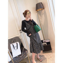 Dress Spring 2021 black M, L longuette Two piece set Long sleeves commute Crew neck High waist Broken flowers Socket Big swing routine Others 25-29 years old Type A Other / other Korean version Pleats, stitches, zippers