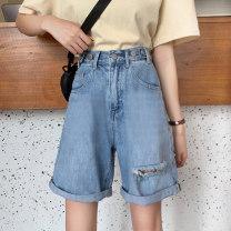 Jeans Summer 2021 wathet S [90-100kg], m [100-110kg], l [110-120kg], XL [120-135kg], 2XL [135-150kg], 3XL [150-165kg], 4XL [165-175kg], 5XL [175-200kg] Pant High waist Wide legged trousers routine 18-24 years old Worn, zipper, button Cotton denim light colour JSWETR 71% (inclusive) - 80% (inclusive)
