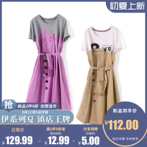 Dress Summer 2021 Middle-skirt singleton  Short sleeve Crew neck middle-waisted Condom 25-29 years old More than 95% other cotton XS,S,M,L,XL,XXL Khaki has a belt, rose powder has a belt, rose powder has no belt, khaki has no belt