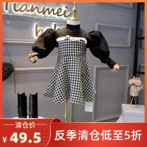 Dress Black and White Velvet female Other / other 5 (100cm), 7 (110cm), 9 (120cm), 11 (130cm), 13 (140cm), 15 (150cm) Cotton 100% winter princess Long sleeves lattice cotton Splicing style IE5686 Class B 2, 3, 4, 5, 6, 7, 8, 9, 10, 11, 12, 13, 14 years old Chinese Mainland