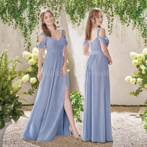 Dress / evening wear Wedding, adulthood, party, company annual meeting, performance, routine, appointment XXL, XXXL, s, m, l, XL, custom size, 4XL, 5XL Color customization (see color card) Simplicity longuette High waist Winter 2016 Fall to the ground Sling type zipper Chemical fiber Chiffon