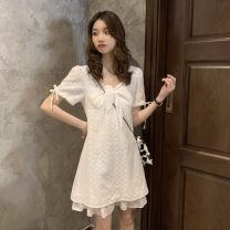 Dress Summer 2021 white Average size Short skirt singleton  Short sleeve commute square neck Solid color A-line skirt 18-24 years old Type A Other / other Korean version ysg8658 30% and below