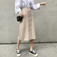 skirt Autumn of 2018 Average size (160 / 84A) Caramel black apricot Mid length dress Versatile High waist A-line skirt Solid color Type A 18-24 years old M1116 knitting Other / other other