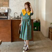 Dress Summer 2021 Picture color Average size Middle-skirt Two piece set Short sleeve commute Doll Collar lattice Socket A-line skirt routine 18-24 years old Other / other Button lym14443
