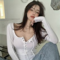 T-shirt White, black Average size Spring 2021 Long sleeves square neck Self cultivation have cash less than that is registered in the accounts routine commute other 30% and below 18-24 years old Korean version Solid color Other / other ZXJ4366