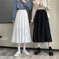 skirt Summer 2021 Average size White, black Mid length dress Versatile High waist A-line skirt Solid color Type A 18-24 years old ysg8614 30% and below other Other / other other