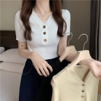 Wool knitwear Summer 2021 Average size Apricot, white, black Short sleeve singleton  Socket other 31% (inclusive) - 50% (inclusive) Super short Thin money commute Self cultivation V-neck Solid color Single breasted Korean version ysg8588 18-24 years old Other / other