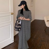 Dress Summer 2021 Gray, black Average size longuette singleton  Short sleeve Crew neck High waist stripe Socket other other Others 18-24 years old Type H Other / other ZXJ6261 30% and below other other