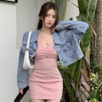 Fashion suit Summer 2021 Average size Blue suspender skirt, pink suspender skirt, denim jacket, apricot suspender skirt 18-25 years old Other / other ZXJ5935 30% and below