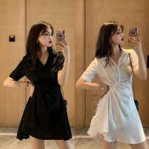 Dress Spring 2021 White, black S, M Middle-skirt singleton  Short sleeve commute Socket 18-24 years old Type A Other / other Z658