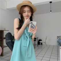Dress Summer 2021 Green, blue, pink Average size Middle-skirt singleton  Sleeveless Sweet Crew neck routine 18-24 years old Other / other zym14051 31% (inclusive) - 50% (inclusive) other