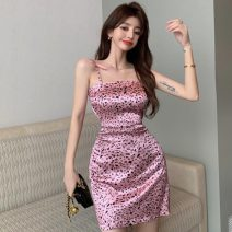 Dress Summer 2021 Leopard Dress Average size Short skirt singleton  Sleeveless High waist Leopard Print other other other camisole 18-24 years old Type A Other / other ZXJ6387 30% and below other other
