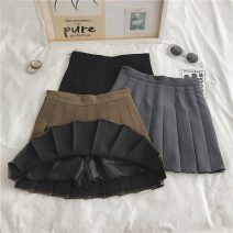skirt Summer 2021 S,M,L,XL 9999 # black, 9999 # gray, 9999 # coffee Short skirt commute High waist Pleated skirt Solid color Type A 18-24 years old YM2693 Korean version
