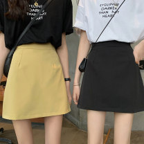 skirt Summer 2021 S,M,L,XL Gray, yellow, black Short skirt High waist Solid color Type A 18-24 years old ysg5923 30% and below