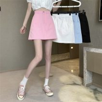 skirt Summer 2021 S,M,L White, blue, black, pink Short skirt Versatile High waist Solid color Type A 18-24 years old ysg8341 30% and below Other / other other